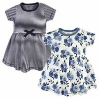 Touched by Nature Baby Organic Cotton Dress, Navy Floral, 2-Pack