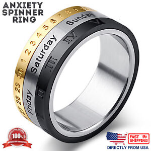 Men's Stainless Steel Dates, Roman Numerals, and Numbers Anxiety Spinner Ring