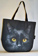 Animale Tote Bag, Borsa a mano 3D Carino, unico fatto a mano EU-Black Cat