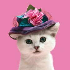Posh Cat in Hat Bling Luxury Glitter Blank Art Greeting Card Animal Lovers