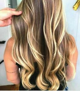 100% Real hair! New Charm Women's Long Brown Mix Blonde Wavy Human Hair Wigs