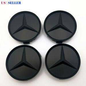 (Set of 4) Wheel Center Hub Caps Emblem Matte Black 75mm For Mercedes Benz AMG