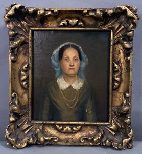 19thC Antique VICTORIAN Era LADY in BONNET PORTRAIT Oil PAINTING Old GESSO FRAME