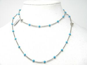 """David Yurman 36"""" Collectible Bead and Chain Necklace Turquoise and Silver NWT"""