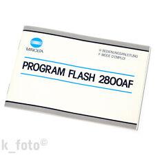 Minolta Program Flash 2800 Af Instruction Manual * mode d' emploi