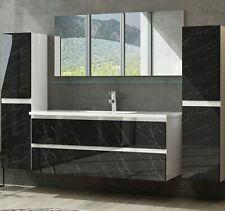 Badmöbel Set Weiss / Marmor Optik Hochglanz Badezimmermöbel 60   90 cm 120 Luuci
