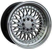 XXR 536 15X8 4x100/114.3mm +20 Silver Wheels Fits Integra Civic Miata E30 Fox