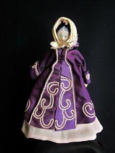 Antique Wooden Grodnertal Peg Doll Jointed w/ Pink Skirt, Purple Coat & Bonnet