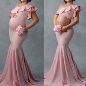 Maternity Photoshoot Dress Maternity Gown for Baby Shower Long Mermaid Gown Pink