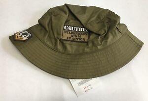 NWT Gymboree Wilderness Club Sz 8 and Up Olive Green Caution Ninja Bucket Hat