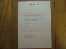 ROBERT  SCHULLER (Died 4/2/15) Signed 7 X 10 Personal Letter Dated June 11, 1979