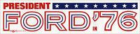 Large 1976 Gerald FORD IN '76 Bumper Sticker (4845)