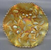 Northwood FRUITS & FLOWERS STIPPLED VARIANT Marigold Carnival Glass Bowl 7201