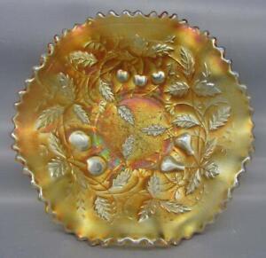 7934 Northwood FRUITS & FLOWERS STIPPLED VARIANT Marigold Carnival Glass Bowl