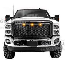11-16 Ford Super Duty Raptor Style Gloss Black Mesh Grille+Shell+Amber LED light