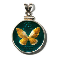 Philippines Enameled Jewelry Coin Pendant Butterfly 25 Sentimos 1990 w/Bezel