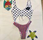 Zaful swim one piece Size 10 Swimsuit Patriotic Stripes Stars USA NWT