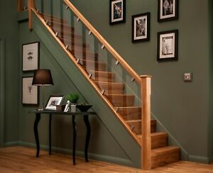 Glass Panel Stair Case & Landing Kit Elements Modern Oak and Chrome