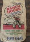 Vintage Burlap Potato Sack Ranch House Pinto Beans Cowboy Railroad Denver CO