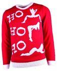 Naughty Ho Ho Ho Knitted Ugly Christmas Sweater Bad Santa Xmas Adult MD-XL