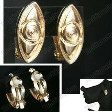 CLIP ON aztec GOLD FASHION EARRINGS ethnic BOHO retro quirky vintage CHICO'S