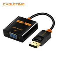 Cabletime DP TO VGA Adapter Convertor DisplayPort VGA Cable 1080P for HDTV PC