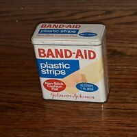 VTG Band-Aid Plastic Strips OLD Metal Lid Hinge Tin Box Mid-Century EMPTY 5626aa