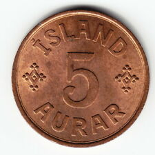 ICELAND 5 aurar 1942 KM7.2 Br London 2-year type SCARCE in TOP GRADE - FULL RED!