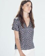 Zara Silk V Neck Floral Tops & Shirts for Women