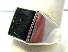 VINTAGE STERLING SILVER ONYX INTAGLIO RING BAND SIZE 11  SYBOLL