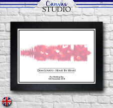 A4 Personalised Soundwave Song Framed Print Picture Heart Love Pink Wedding Gift