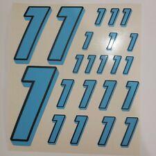 Blue w/Black #1's  Racing Numbers Vinyl Decal Sheet 1/10-1/12 slash