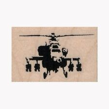 Mounted Rubber Stamp, Banksy Helicopter Gunship, Chopper, Military, Whirlybird