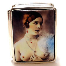 ENAMEL ANTIQUE EDWARDIAN STYLE EROTIC BEAUTY PILL BOX 925 SOLID STERLING SILVER