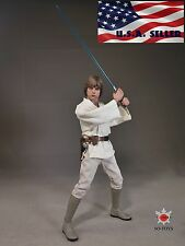 1/6 STAR WARS Luke Skywalker Head Sculpt White Costume Suit Set  IN STOCK USA