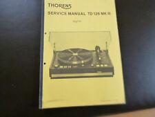 Original Service Manual Schaltplan Thorens TD 126 MKII