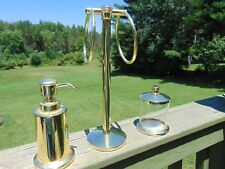 Lot 3 Bathroom Counter Top Towel Bar Soap Dispenser & Storage Jar Brass Finish