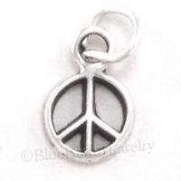 small PEACE SIGN symbol 925 Sterling Silver Pendant Charm tiny mini