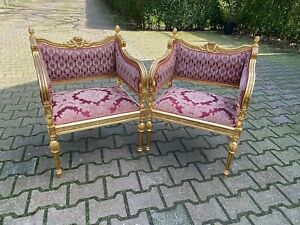 Beautiful set of two chairs in French Louis XVI style.