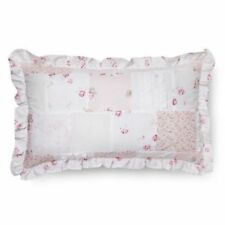 NEW Simply Shabby Chic Ditsy Patchwork Oblong Ruffle BED Pillow Pink DECORATIVE
