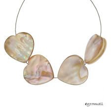 6 Mother of Pearl Shell Flat Heart Pendant Beads 18mm Natural Beige #75145