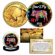 2019 Lunar YEAR OF THE PIG 24K Gold Clad American Buffalo Tribute Coin PolyChrom