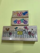 3 Stamps Welcome Home Baby By David Walker Bib Pin Blocks Fence Cat B