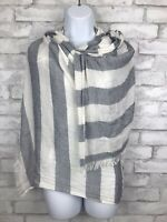 Nautical Inspired Blue and White Oversized Scarf with Fringe  75x45""