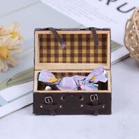 1/12 Miniature Dollhouse Vintage Leather Wood Suitcase Luggage Classic Toys YK