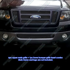 Custom Fits 2006-2008 Ford F-150 Bar Style Black Billet Grill Combo
