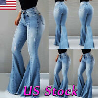 New Womens High Waist Flare Long Jeans Bell Bottom Stretch Pants Denim Trousers