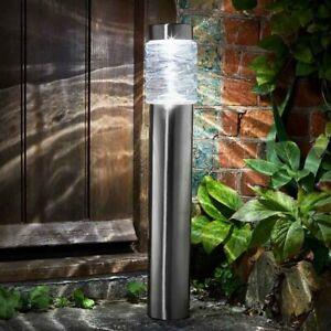 Large Solar Bollard Light 20 Lumen Stainless Steel Garden Patio Path Stake