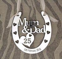 Personalised Mum & Dad 25th Silver Wedding  Anniversary Horseshoe Gift Keepsake