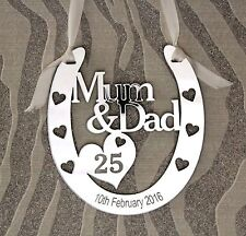 Personalised Mum & Dad 25th Silver Wedding  Anniversary Horseshoe Gift Keepsake